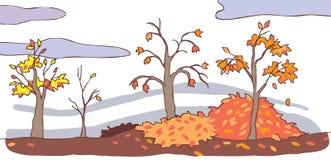 Child cartoon autumn landscape background () Royalty Free Stock Photo