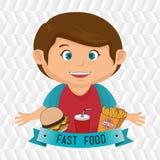 child cartoon boy fast food Stock Images