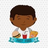 child cartoon boy fast food Stock Photography