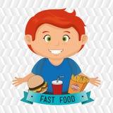 child cartoon boy fast food Stock Image