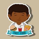 child cartoon boy fast food Stock Photos
