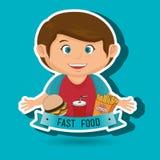 child cartoon boy fast food Royalty Free Stock Photography