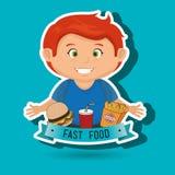 child cartoon boy fast food Royalty Free Stock Image