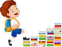 Child cartoon climbing stairs Royalty Free Stock Image