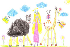Child Cartoon Hand Drawn funny animals and Princess Royalty Free Stock Photography