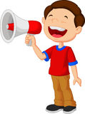 Child cartoon screaming into a megaphone Stock Images