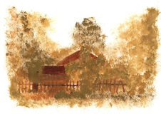 Child& x27; casa del dibujo de s en el pueblo Imagen de archivo