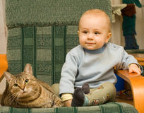 Child and cat Royalty Free Stock Photography