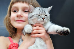 Child with a cat Royalty Free Stock Photo