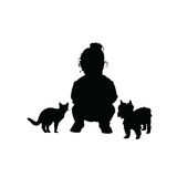 Child with cat and dog adorable silhouette illustration in black Royalty Free Stock Photo