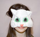 Child cat mask Royalty Free Stock Photos