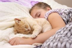 Sleeping girl witch cat stock image