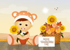 Child celebrate Thanksgiving Day Stock Photo