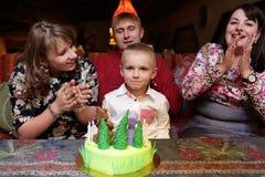 Child celebrates his birthday Stock Images