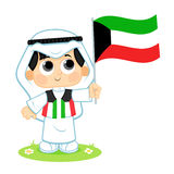 Child Celebrates Kuwait National Day vector illustration