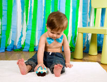 Child is celebrating his first birthday Stock Photos