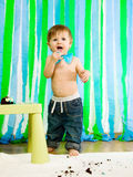 Child is celebrating his first birthday Royalty Free Stock Image