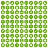 100 child center icons hexagon green. 100 child center icons set in green hexagon isolated vector illustration Royalty Free Stock Photo
