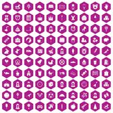 100 child center icons hexagon violet. 100 child center icons set in violet hexagon isolated vector illustration Royalty Free Illustration