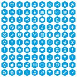 100 child center icons set blue. 100 child center icons set in blue hexagon isolated vector illustration royalty free illustration
