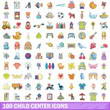 100 child center icons set, cartoon style. 100 child center icons set. Cartoon illustration of 100 child center vector icons isolated on white background Royalty Free Stock Images