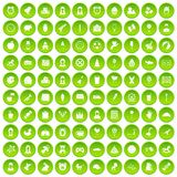 100 child center icons set green circle. Isolated on white background vector illustration Stock Images