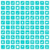 100 child center icons set grunge blue. 100 child center icons set in grunge style blue color isolated on white background vector illustration stock illustration