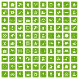 100 child center icons set grunge green Royalty Free Stock Image