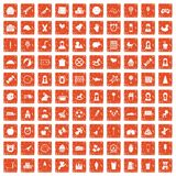 100 child center icons set grunge orange. 100 child center icons set in grunge style orange color isolated on white background vector illustration Stock Photo