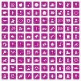 100 child center icons set grunge pink. 100 child center icons set in grunge style pink color isolated on white background vector illustration Royalty Free Stock Photos