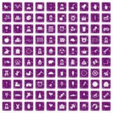 100 child center icons set grunge purple. 100 child center icons set in grunge style purple color isolated on white background vector illustration Stock Image