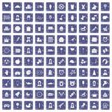 100 child center icons set grunge sapphire. 100 child center icons set in grunge style sapphire color isolated on white background vector illustration Stock Image