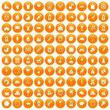 100 child center icons set orange. 100 child center icons set in orange circle isolated on white vector illustration vector illustration