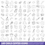 100 child center icons set, outline style Stock Images