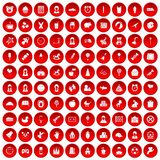 100 child center icons set red. 100 child center icons set in red circle isolated on white vector illustration Royalty Free Stock Images