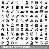 100 child center icons set, simple style Stock Image