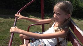 Child in Chairlift, Tourist Happy Girl in Ski Cable Railway Mountains, Alpine 4k stock video footage