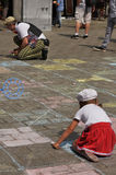 Child, chalk and clown Stock Images