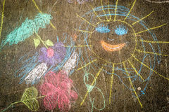Child Chalk Drawing on Asphalt Royalty Free Stock Photography