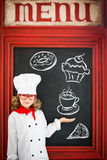Child chef cook. Restaurant business concept Royalty Free Stock Photo