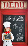 Child chef cook. Restaurant business concept Stock Images