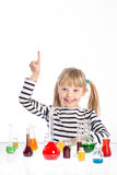 Child in chemistry class, chemistry lesson Royalty Free Stock Photos