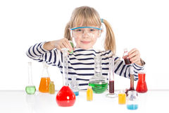 Child in chemistry class, chemistry lesson Royalty Free Stock Image