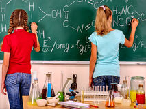 Child in chemistry class royalty free stock images