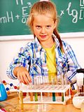 Child in chemistry class. Royalty Free Stock Photos