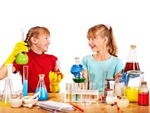 Child in chemistry class. Stock Photography