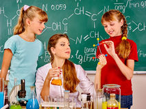 Child in chemistry class Stock Photography