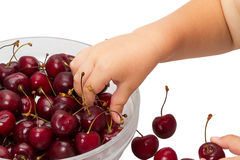Child and cherries Royalty Free Stock Photos