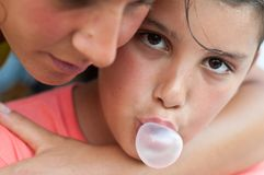 Child with chewing gum Stock Image