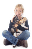 Child and chihuahua Royalty Free Stock Photos